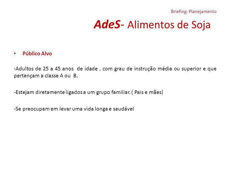 AdeS- Alimentos de Soja Público Alvo -Adultos de 25 a 45 anos de idade, com grau de instrução média ou superior e que pertençam a classe A ou B. -Este