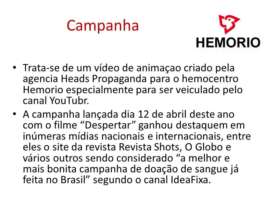Campanha Trata-se de um vídeo de animaçao criado pela agencia Heads Propaganda para o hemocentro Hemorio especialmente para ser veiculado pelo canal Y