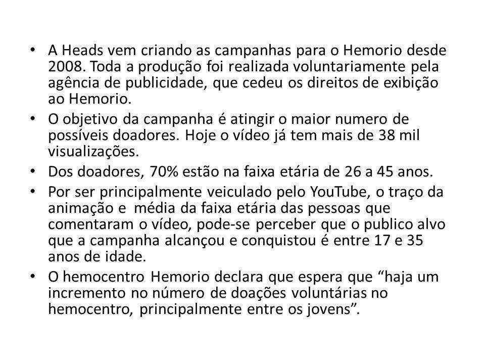 A Heads vem criando as campanhas para o Hemorio desde 2008. Toda a produção foi realizada voluntariamente pela agência de publicidade, que cedeu os di
