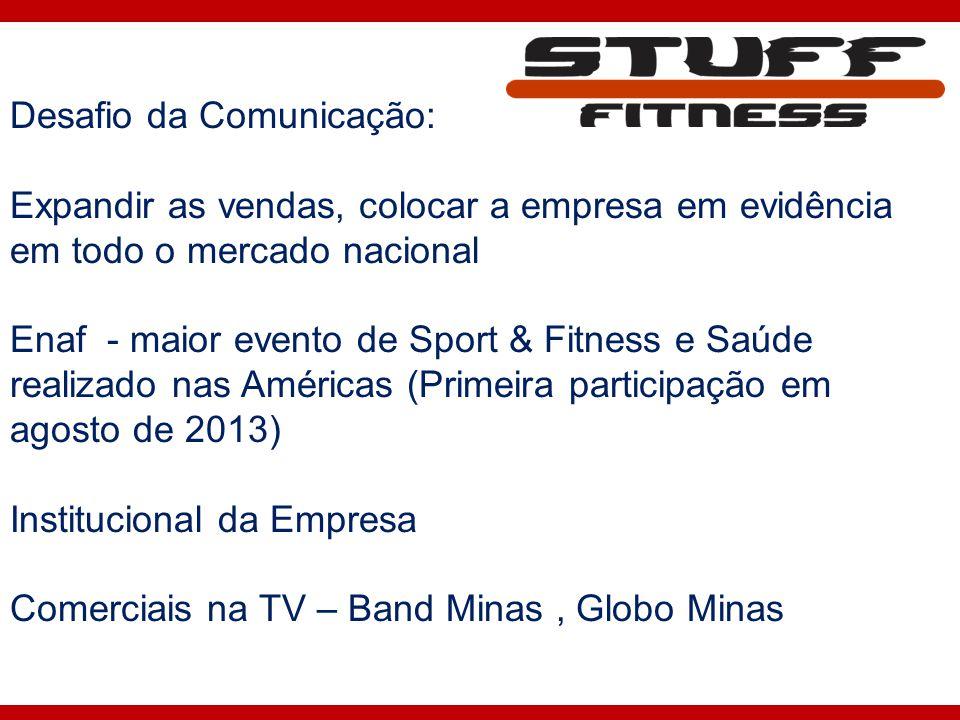 Desafio da Comunicação: Expandir as vendas, colocar a empresa em evidência em todo o mercado nacional Enaf - maior evento de Sport & Fitness e Saúde r