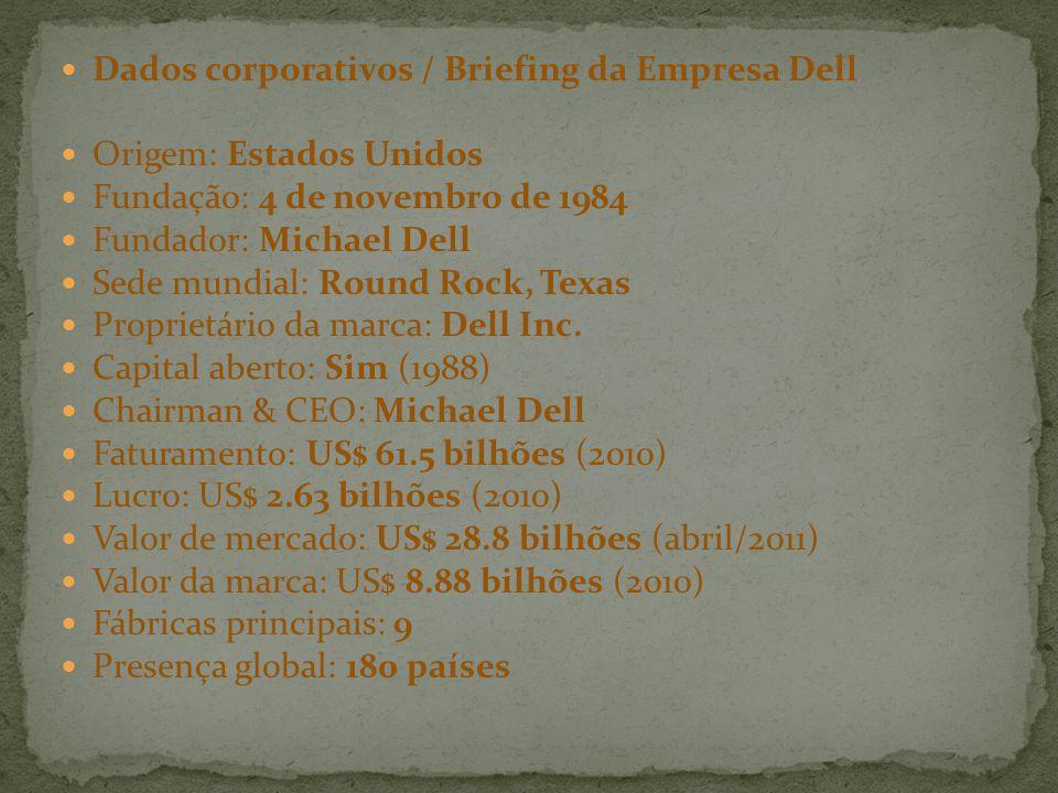Dados corporativos / Briefing da Empresa Dell Origem: Estados Unidos Fundação: 4 de novembro de 1984 Fundador: Michael Dell Sede mundial: Round Rock,