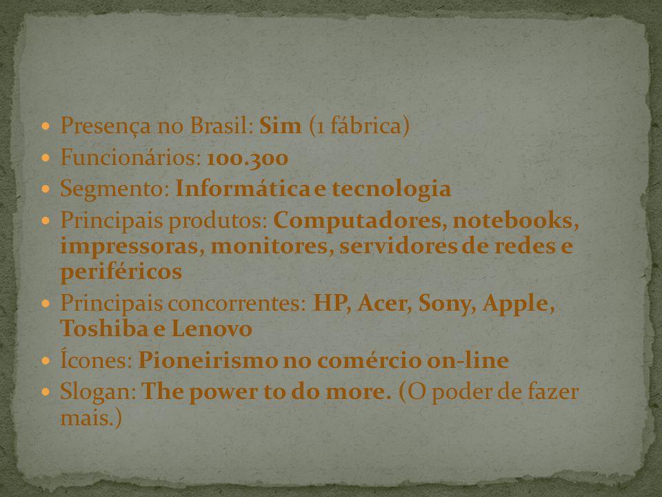 Presença no Brasil: Sim (1 fábrica) Funcionários: 100.300 Segmento: Informática e tecnologia Principais produtos: Computadores, notebooks, impressoras