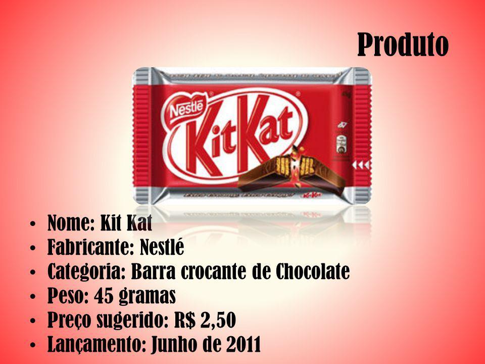 Produto Nome: Kit Kat Fabricante: Nestlé Categoria: Barra crocante de Chocolate Peso: 45 gramas Preço sugerido: R$ 2,50 Lançamento: Junho de 2011