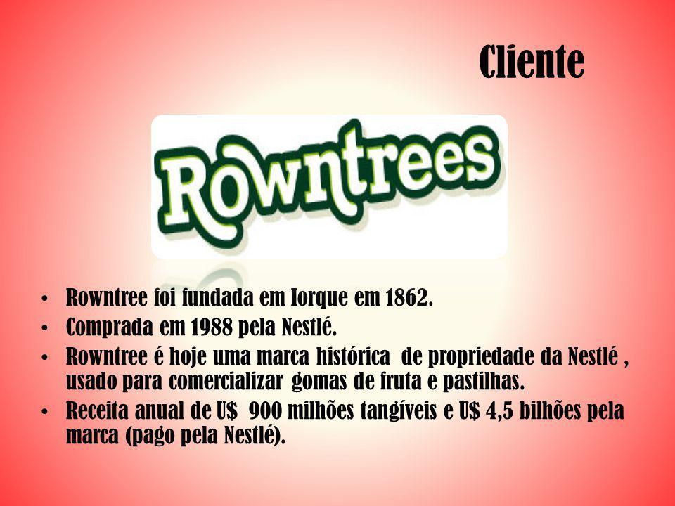 Cliente Rowntree foi fundada em Iorque em 1862.Comprada em 1988 pela Nestlé.