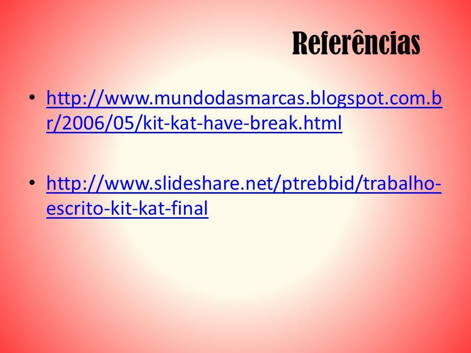 Referências http://www.mundodasmarcas.blogspot.com.b r/2006/05/kit-kat-have-break.html http://www.mundodasmarcas.blogspot.com.b r/2006/05/kit-kat-have-break.html http://www.slideshare.net/ptrebbid/trabalho- escrito-kit-kat-final http://www.slideshare.net/ptrebbid/trabalho- escrito-kit-kat-final