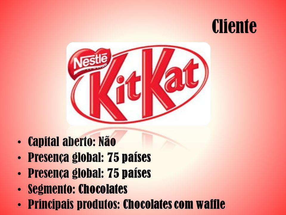 Cliente Capital aberto: Não Presença global: 75 países Segmento: Chocolates Principais produtos: Chocolates com waffle