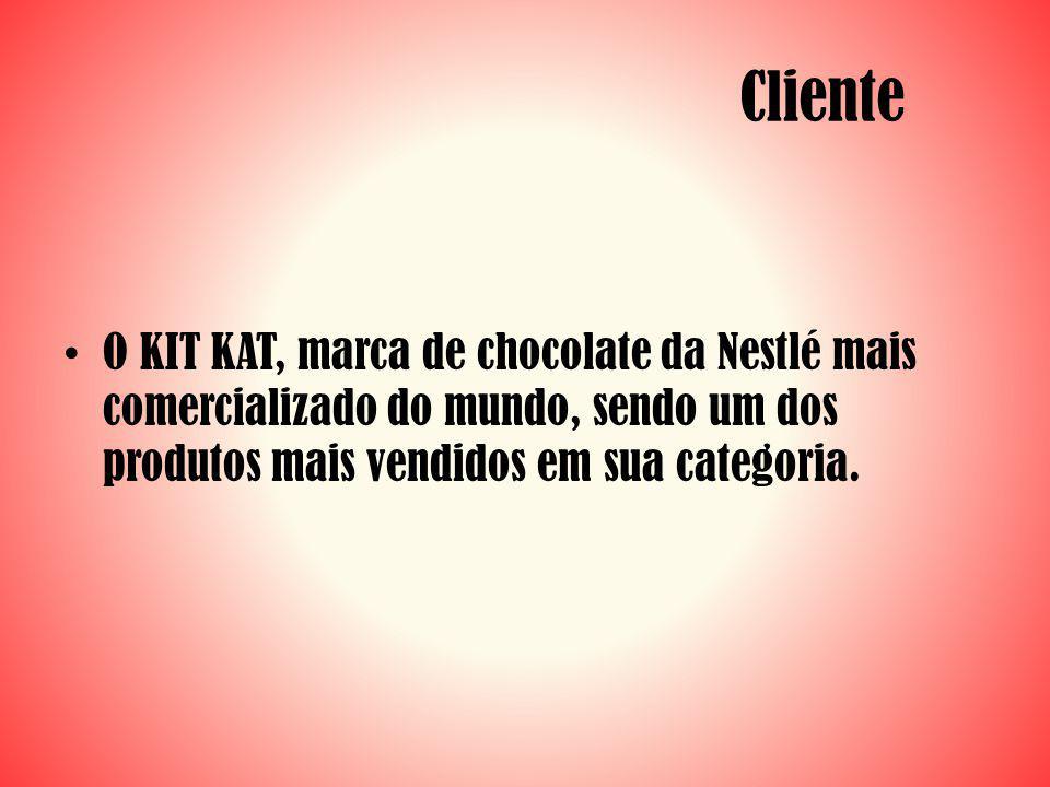 Cliente O KIT KAT, marca de chocolate da Nestlé mais comercializado do mundo, sendo um dos produtos mais vendidos em sua categoria.