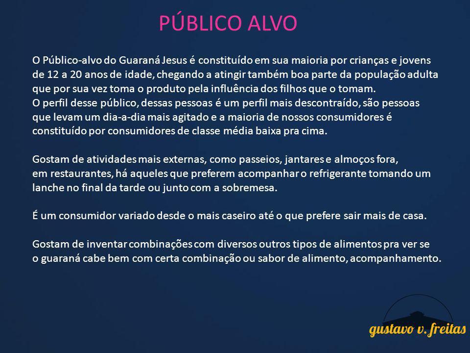 PÚBLICO ALVO O Público-alvo do Guaraná Jesus é constituído em sua maioria por crianças e jovens de 12 a 20 anos de idade, chegando a atingir também bo