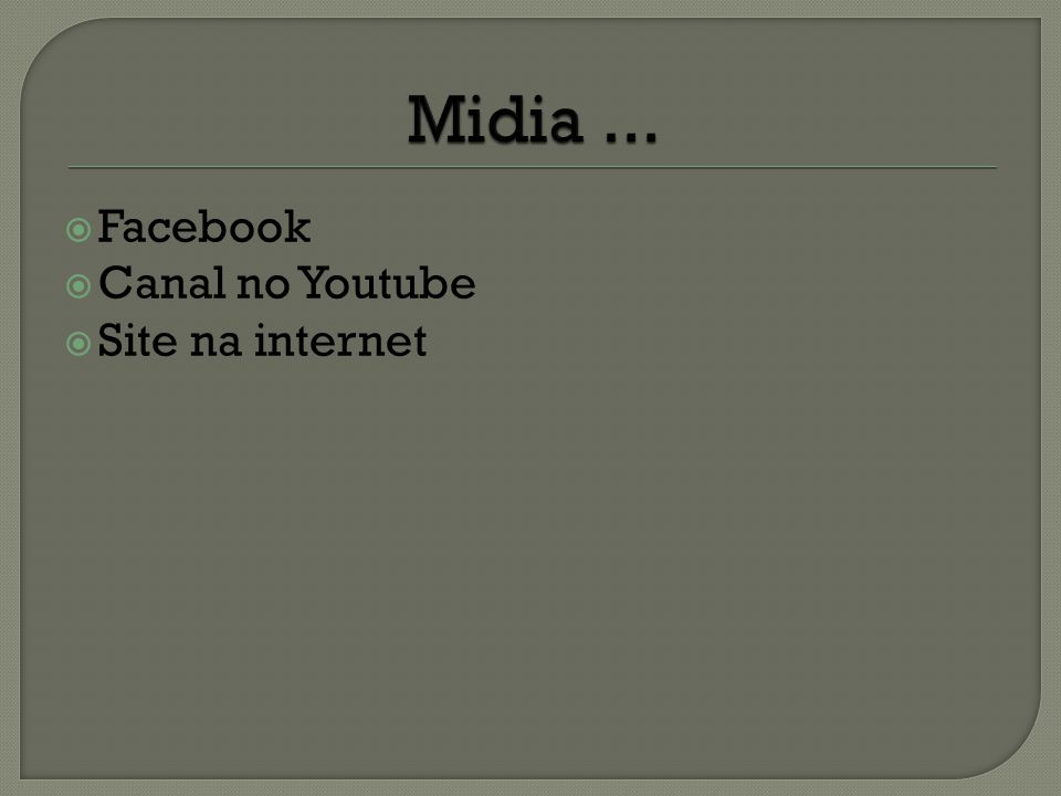 Facebook Canal no Youtube Site na internet