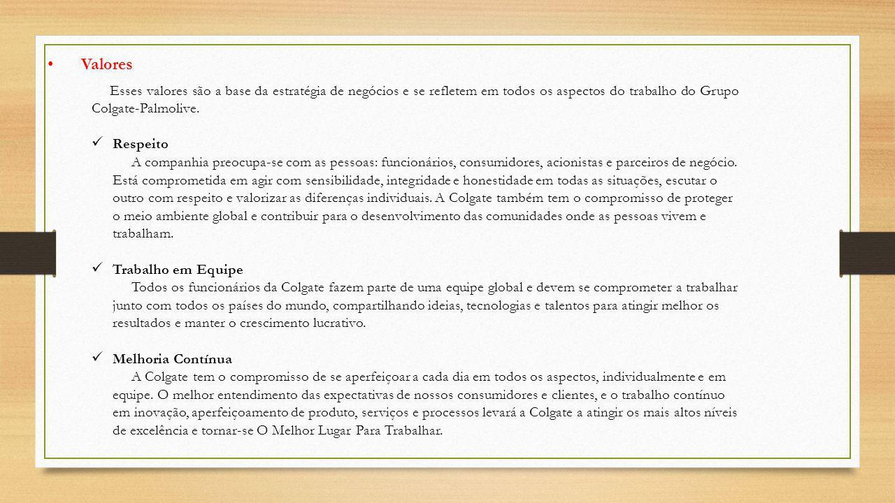 Esses valores são a base da estratégia de negócios e se refletem em todos os aspectos do trabalho do Grupo Colgate-Palmolive.
