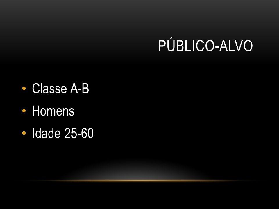 PÚBLICO-ALVO Classe A-B Homens Idade 25-60