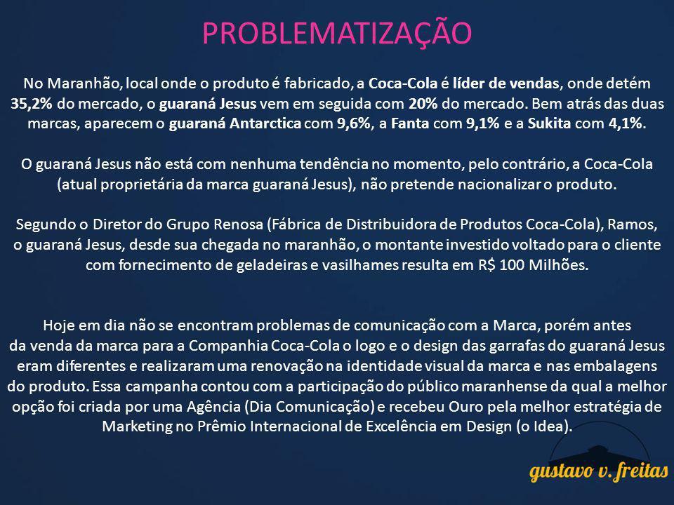 PROBLEMATIZAÇÃO No Maranhão, local onde o produto é fabricado, a Coca-Cola é líder de vendas, onde detém 35,2% do mercado, o guaraná Jesus vem em segu