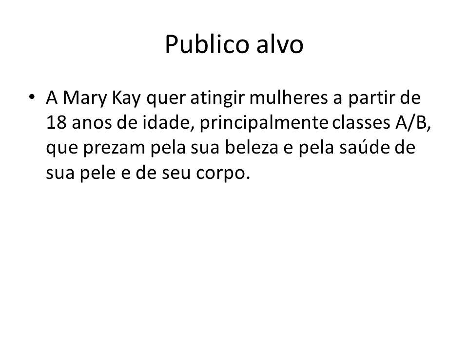 Publico alvo A Mary Kay quer atingir mulheres a partir de 18 anos de idade, principalmente classes A/B, que prezam pela sua beleza e pela saúde de sua
