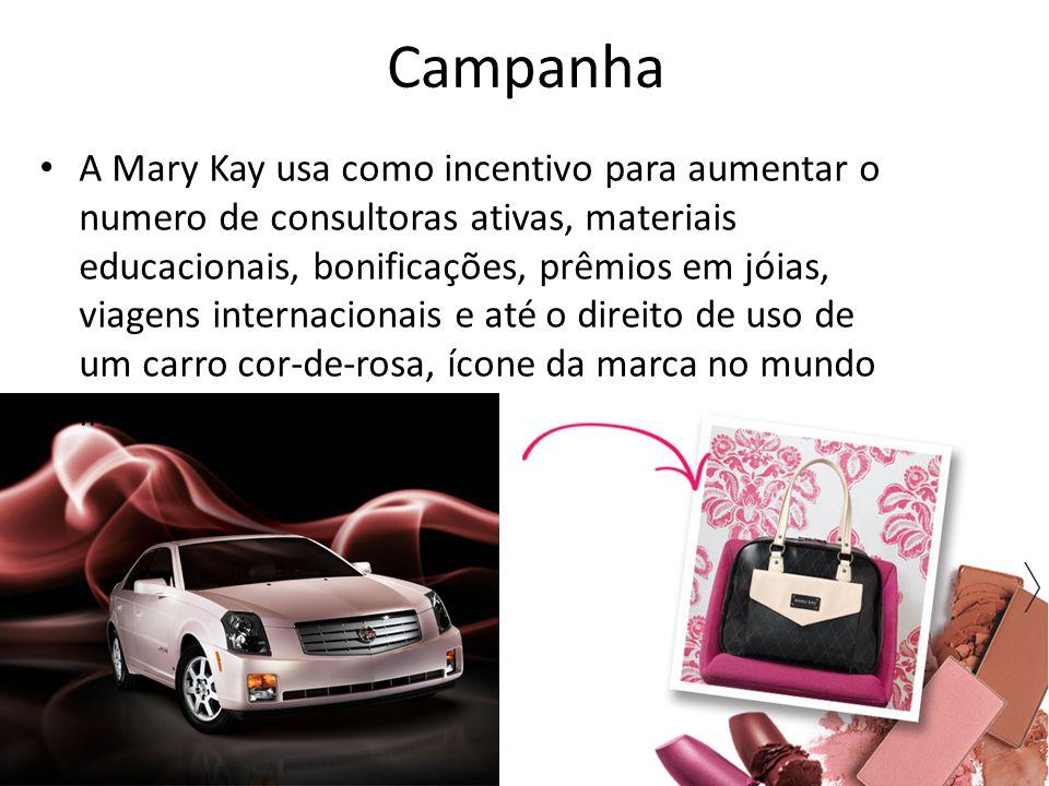 Campanha A Mary Kay usa como incentivo para aumentar o numero de consultoras ativas, materiais educacionais, bonificações, prêmios em jóias, viagens i