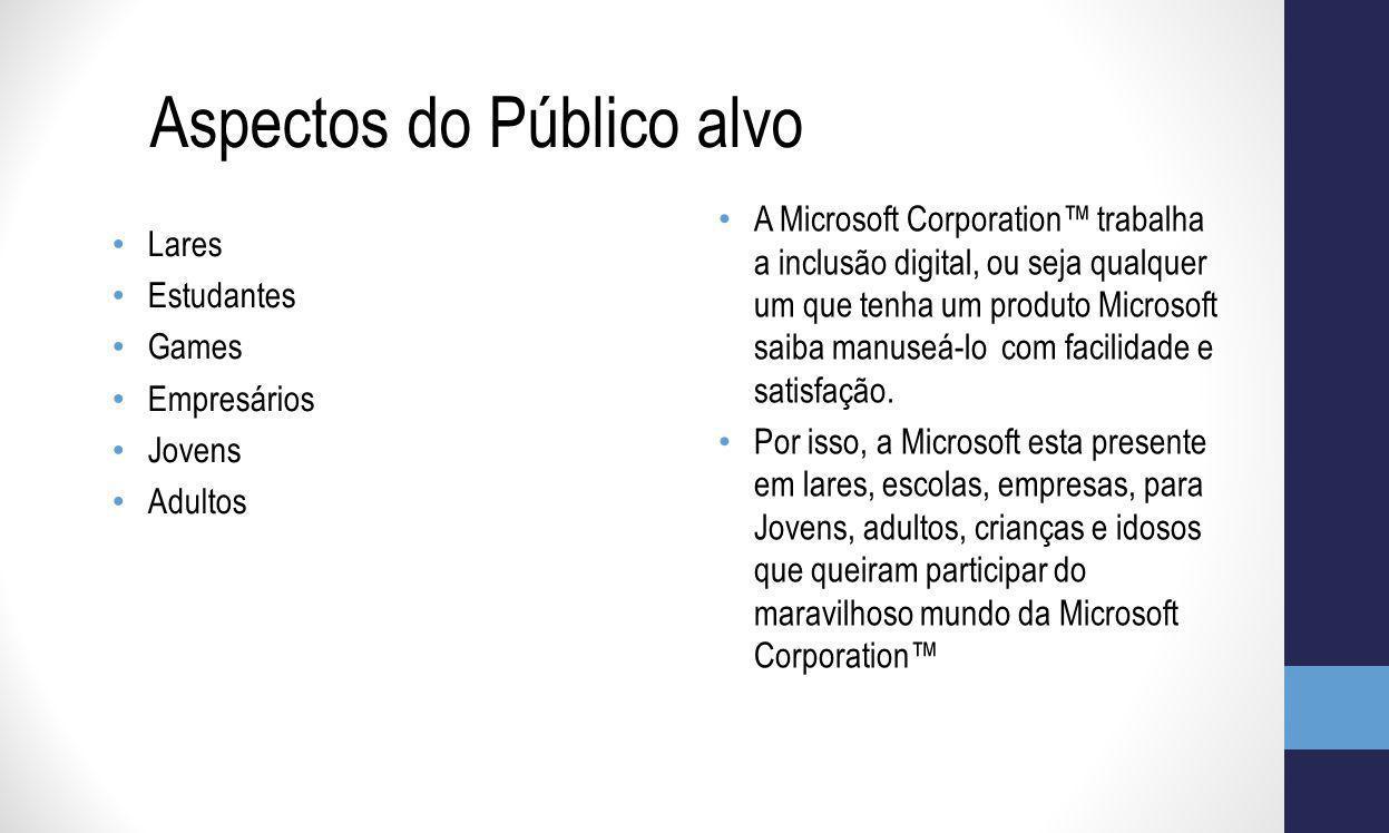 A Microsoft Corporation trabalha a inclusão digital, ou seja qualquer um que tenha um produto Microsoft saiba manuseá-lo com facilidade e satisfação.