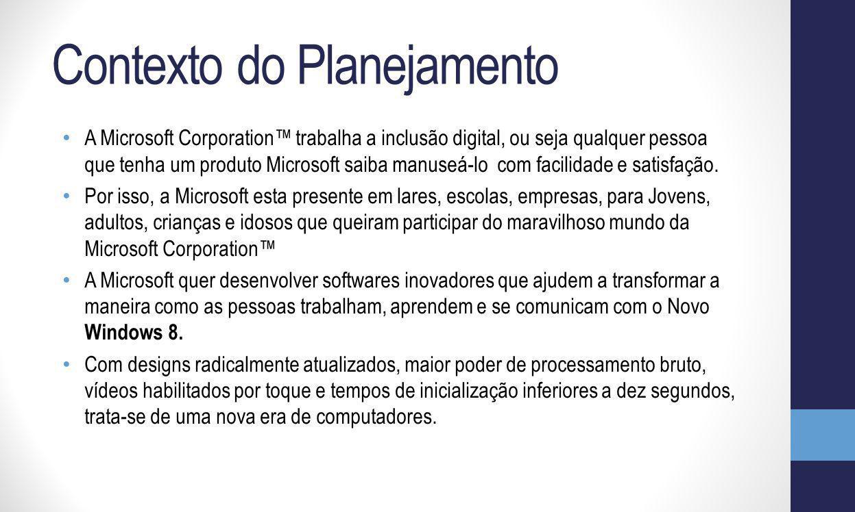 Contexto do Planejamento A Microsoft Corporation trabalha a inclusão digital, ou seja qualquer pessoa que tenha um produto Microsoft saiba manuseá-lo