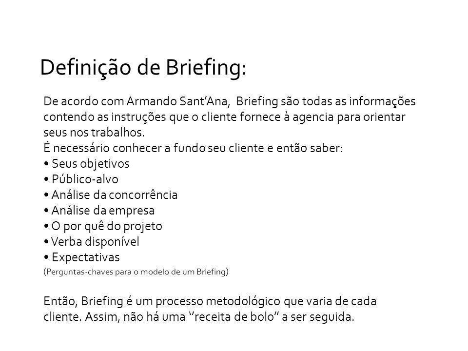 Definição de Briefing: De acordo com Armando SantAna, Briefing são todas as informações contendo as instruções que o cliente fornece à agencia para or