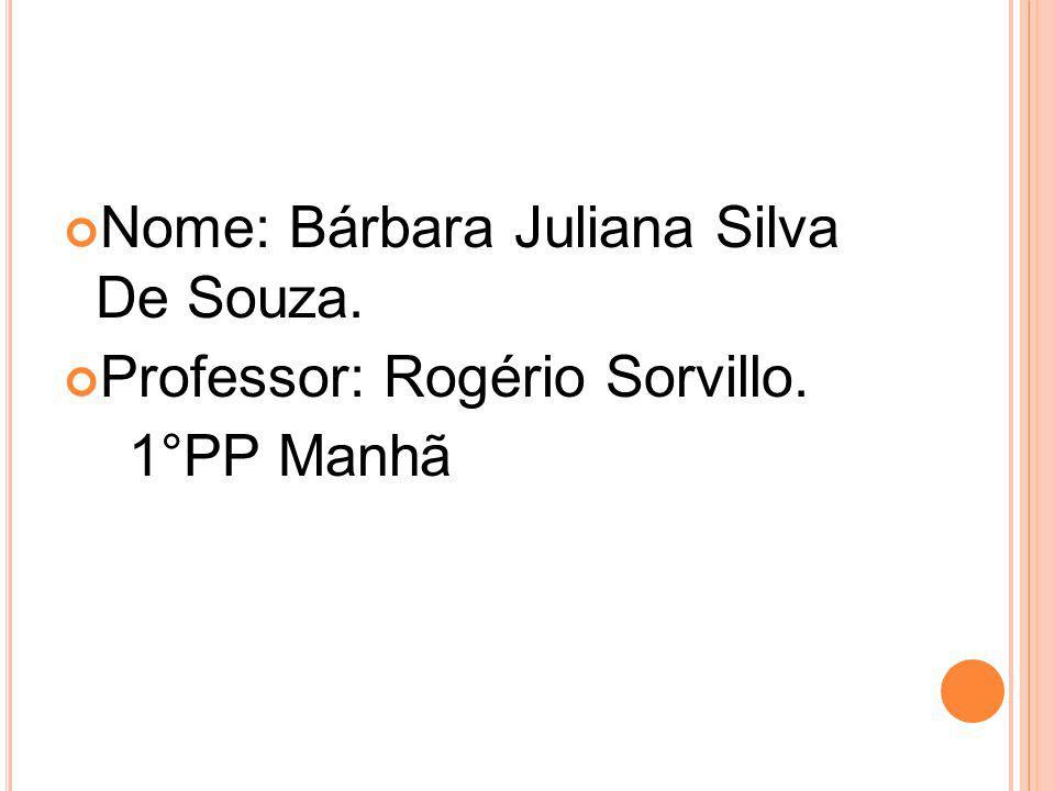 Nome: Bárbara Juliana Silva De Souza. Professor: Rogério Sorvillo. 1°PP Manhã