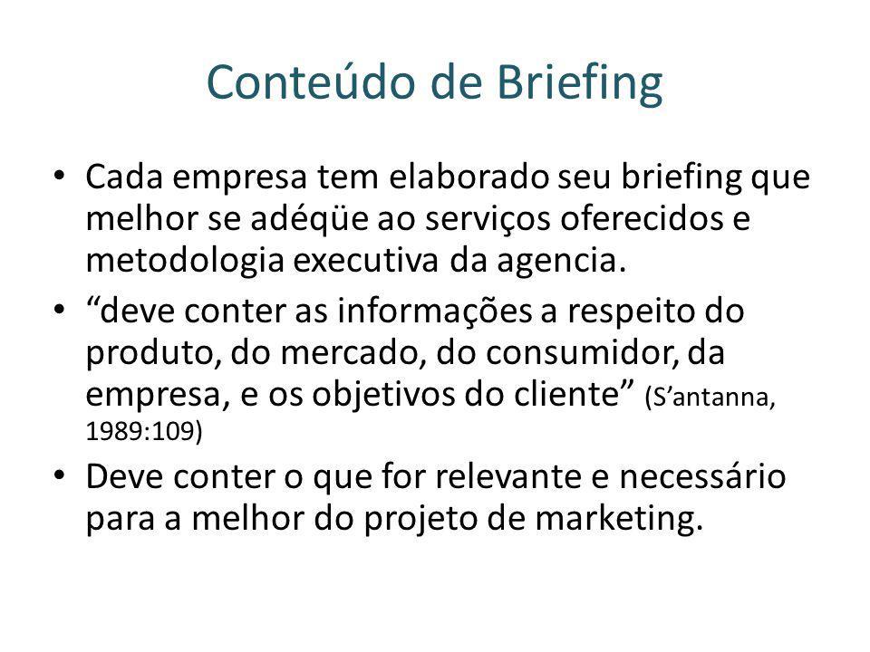 Conteúdo de Briefing Cada empresa tem elaborado seu briefing que melhor se adéqüe ao serviços oferecidos e metodologia executiva da agencia. deve cont