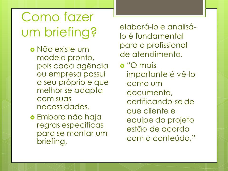 Pode-se optar por reunir todas as informações em apenas um briefing, entretanto, há como dividir o briefing em etapas preliminar e complementar (embora não seja obrigatório).
