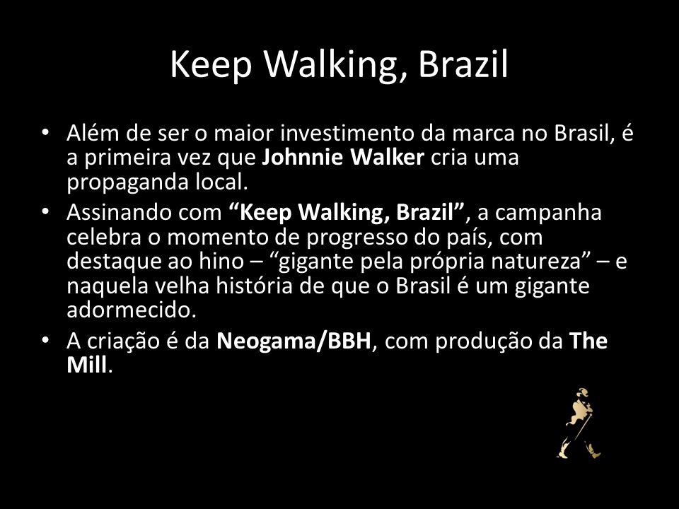 Keep Walking, Brazil Além de ser o maior investimento da marca no Brasil, é a primeira vez que Johnnie Walker cria uma propaganda local. Assinando com