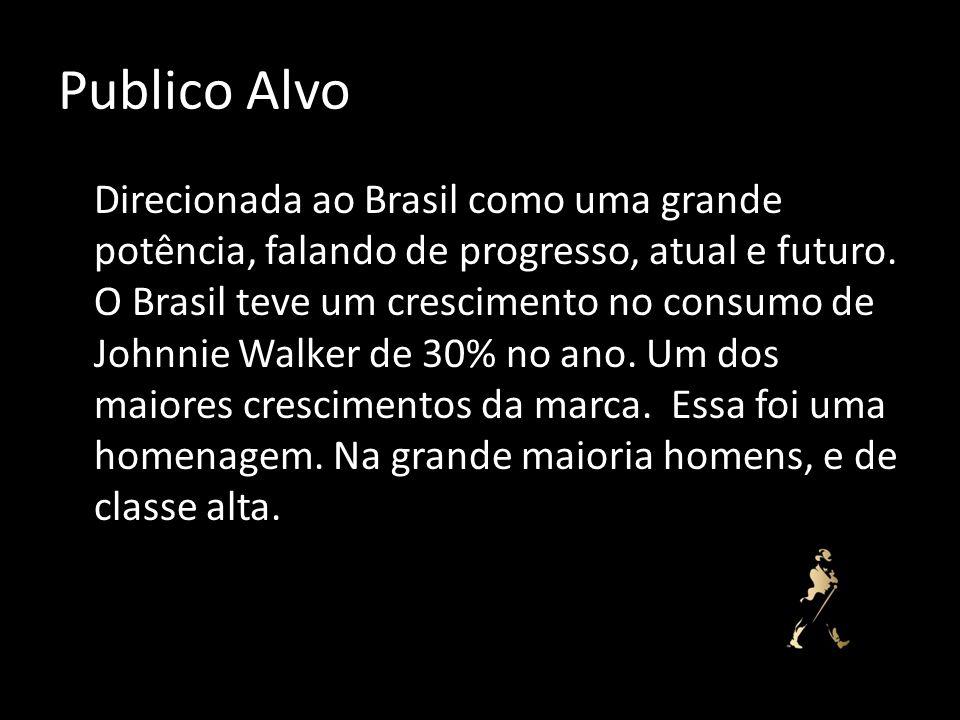 Publico Alvo Direcionada ao Brasil como uma grande potência, falando de progresso, atual e futuro. O Brasil teve um crescimento no consumo de Johnnie