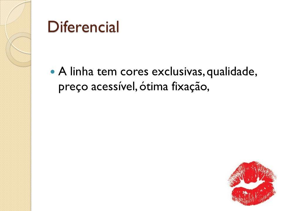 Diferencial A linha tem cores exclusivas, qualidade, preço acessível, ótima fixação,