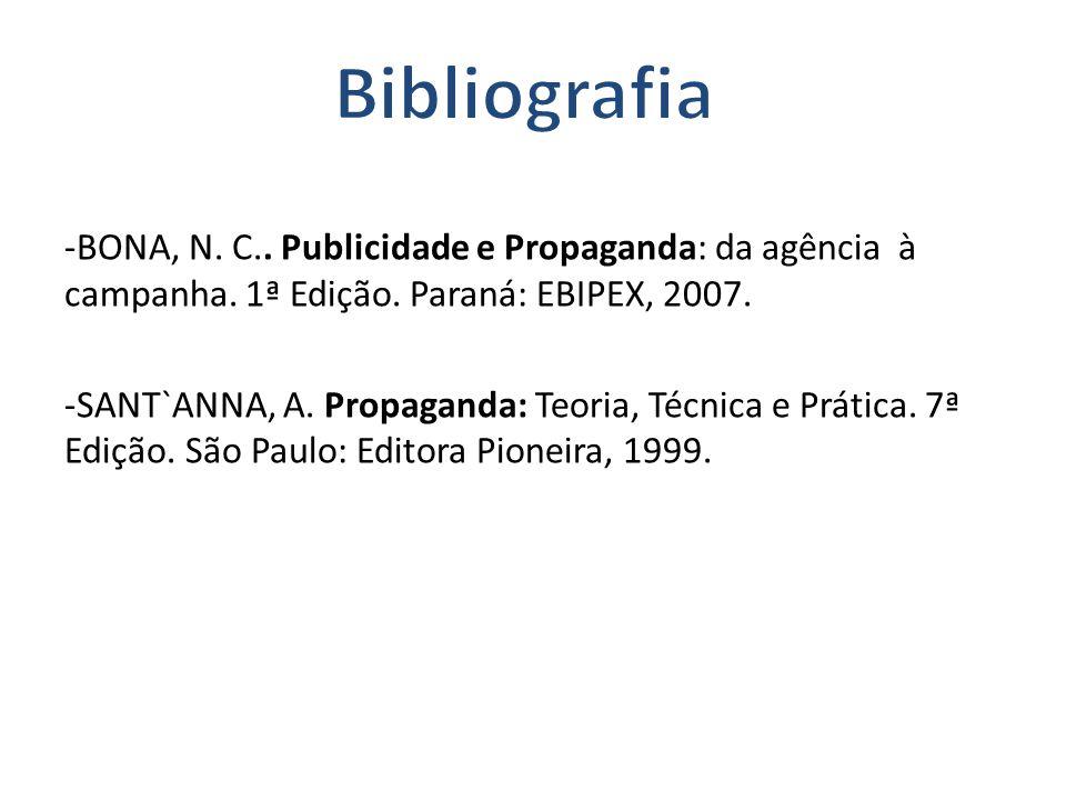 -BONA, N. C.. Publicidade e Propaganda: da agência à campanha. 1ª Edição. Paraná: EBIPEX, 2007. -SANT`ANNA, A. Propaganda: Teoria, Técnica e Prática.