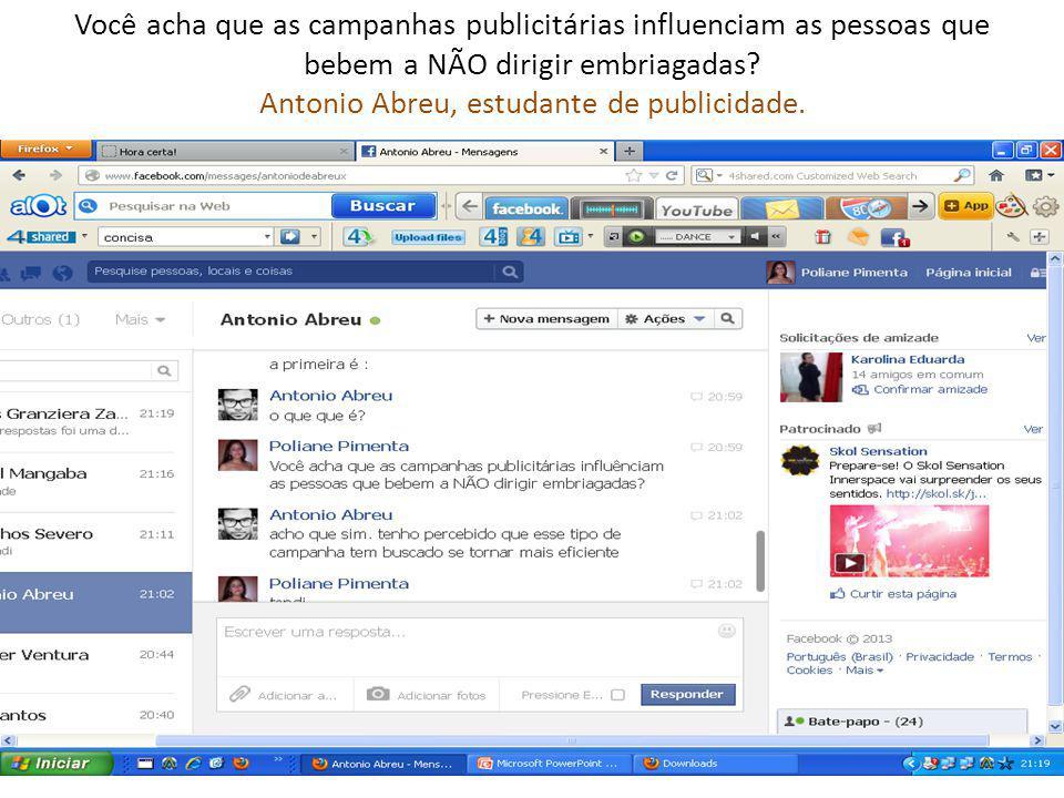 Você acha que as campanhas publicitárias influenciam as pessoas que bebem a NÃO dirigir embriagadas? Antonio Abreu, estudante de publicidade.