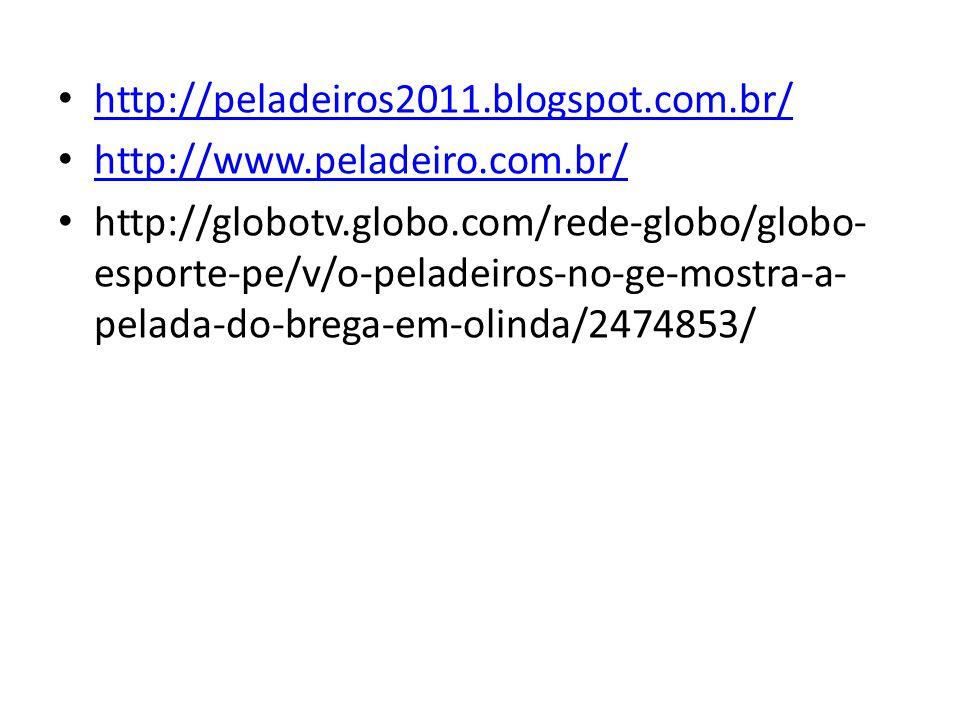 http://peladeiros2011.blogspot.com.br/ http://www.peladeiro.com.br/ http://globotv.globo.com/rede-globo/globo- esporte-pe/v/o-peladeiros-no-ge-mostra-