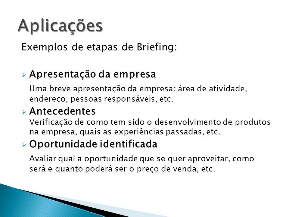 Exemplos de etapas de Briefing: Apresentação da empresa Uma breve apresentação da empresa: área de atividade, endereço, pessoas responsáveis, etc. Ant