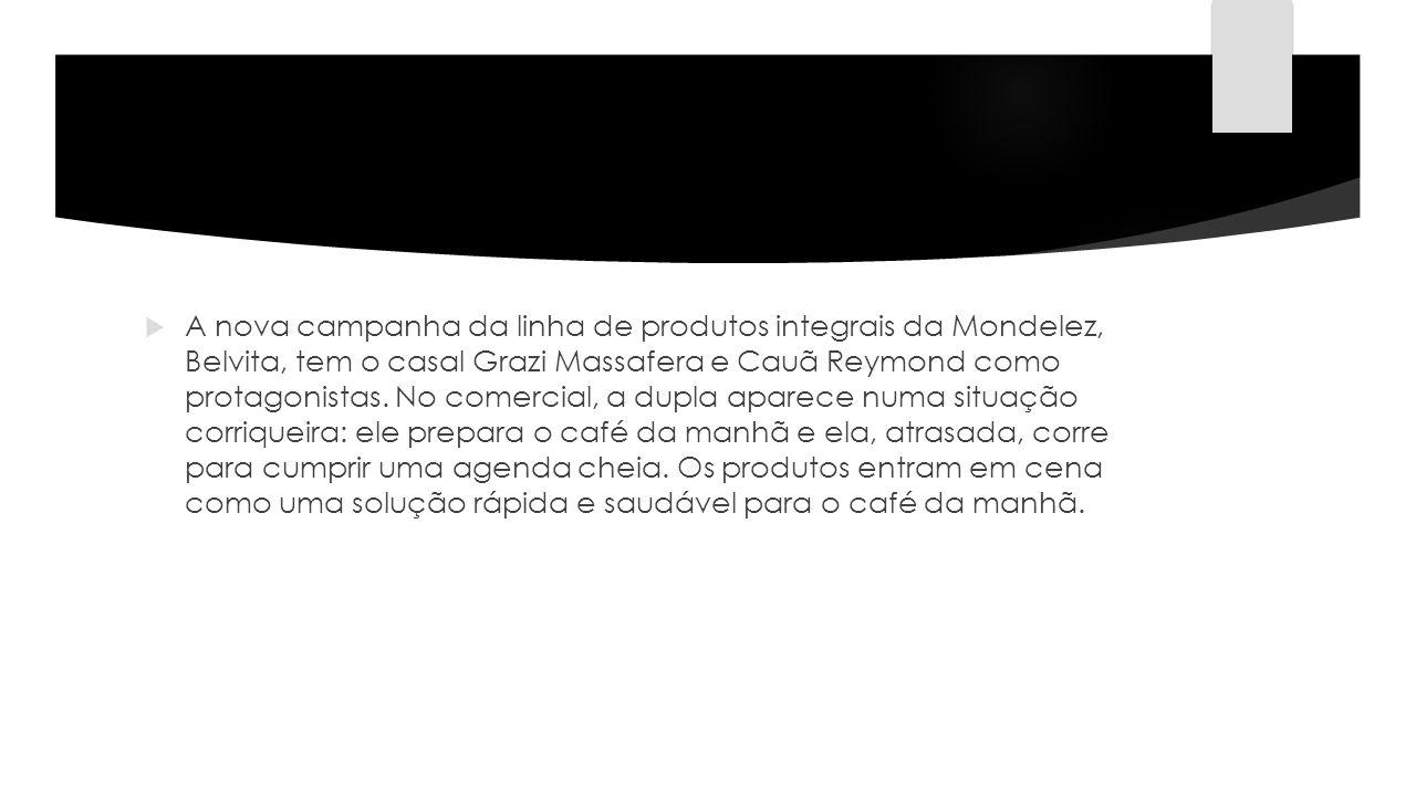 A nova campanha da linha de produtos integrais da Mondelez, Belvita, tem o casal Grazi Massafera e Cauã Reymond como protagonistas. No comercial, a du