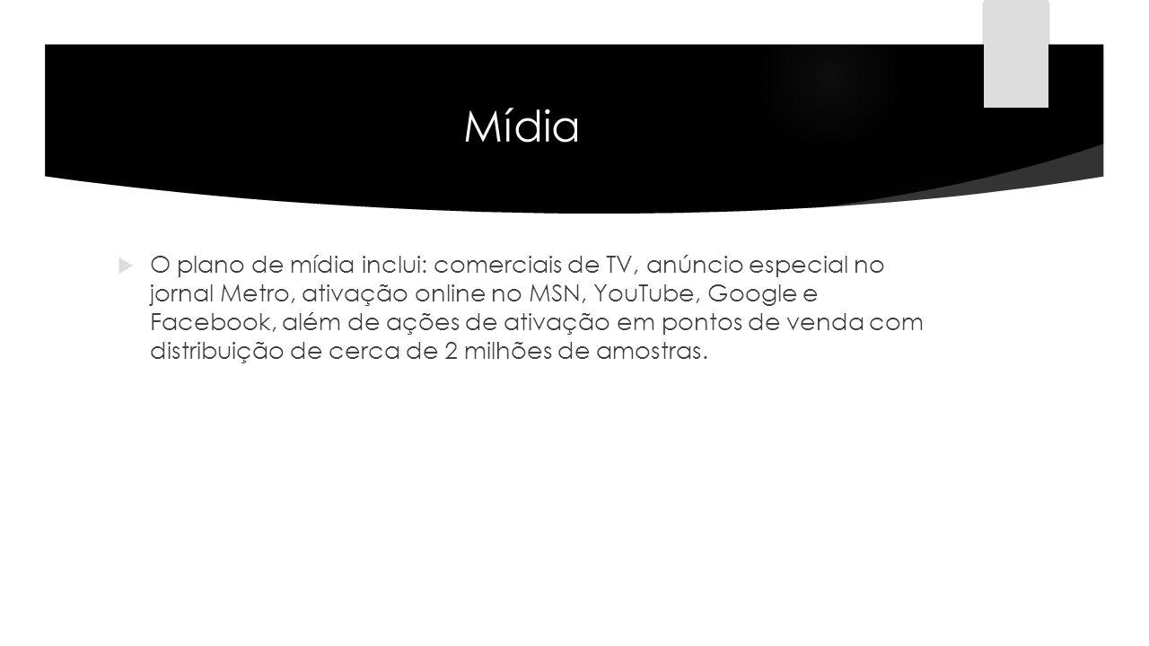 Mídia O plano de mídia inclui: comerciais de TV, anúncio especial no jornal Metro, ativação online no MSN, YouTube, Google e Facebook, além de ações d