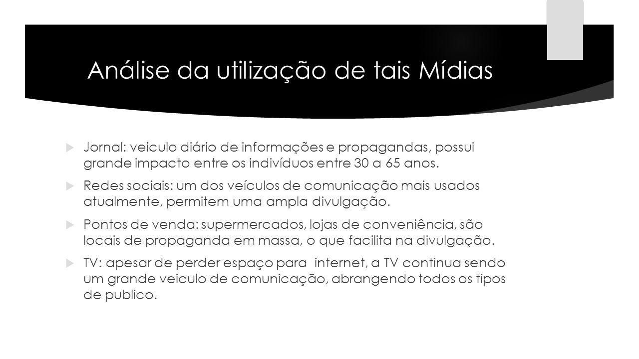 Análise da utilização de tais Mídias Jornal: veiculo diário de informações e propagandas, possui grande impacto entre os indivíduos entre 30 a 65 anos