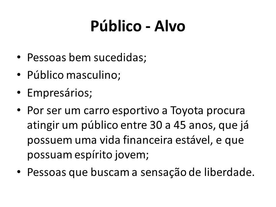 Público - Alvo Pessoas bem sucedidas; Público masculino; Empresários; Por ser um carro esportivo a Toyota procura atingir um público entre 30 a 45 ano