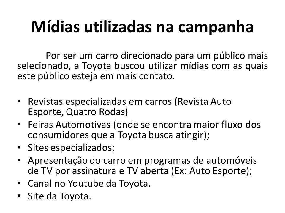 Mídias utilizadas na campanha Por ser um carro direcionado para um público mais selecionado, a Toyota buscou utilizar mídias com as quais este público