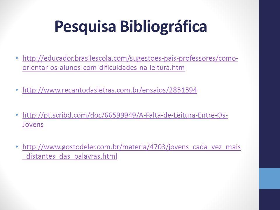 Pesquisa Bibliográfica http://educador.brasilescola.com/sugestoes-pais-professores/como- orientar-os-alunos-com-dificuldades-na-leitura.htm http://educador.brasilescola.com/sugestoes-pais-professores/como- orientar-os-alunos-com-dificuldades-na-leitura.htm http://www.recantodasletras.com.br/ensaios/2851594 http://pt.scribd.com/doc/66599949/A-Falta-de-Leitura-Entre-Os- Jovens http://pt.scribd.com/doc/66599949/A-Falta-de-Leitura-Entre-Os- Jovens http://www.gostodeler.com.br/materia/4703/jovens_cada_vez_mais _distantes_das_palavras.html http://www.gostodeler.com.br/materia/4703/jovens_cada_vez_mais _distantes_das_palavras.html