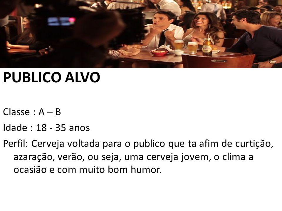 PUBLICO ALVO Classe : A – B Idade : 18 - 35 anos Perfil: Cerveja voltada para o publico que ta afim de curtição, azaração, verão, ou seja, uma cerveja jovem, o clima a ocasião e com muito bom humor.