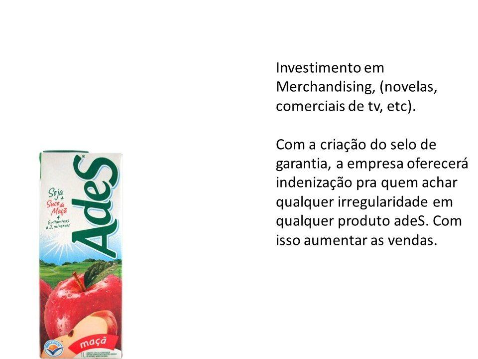 Investimento em Merchandising, (novelas, comerciais de tv, etc).