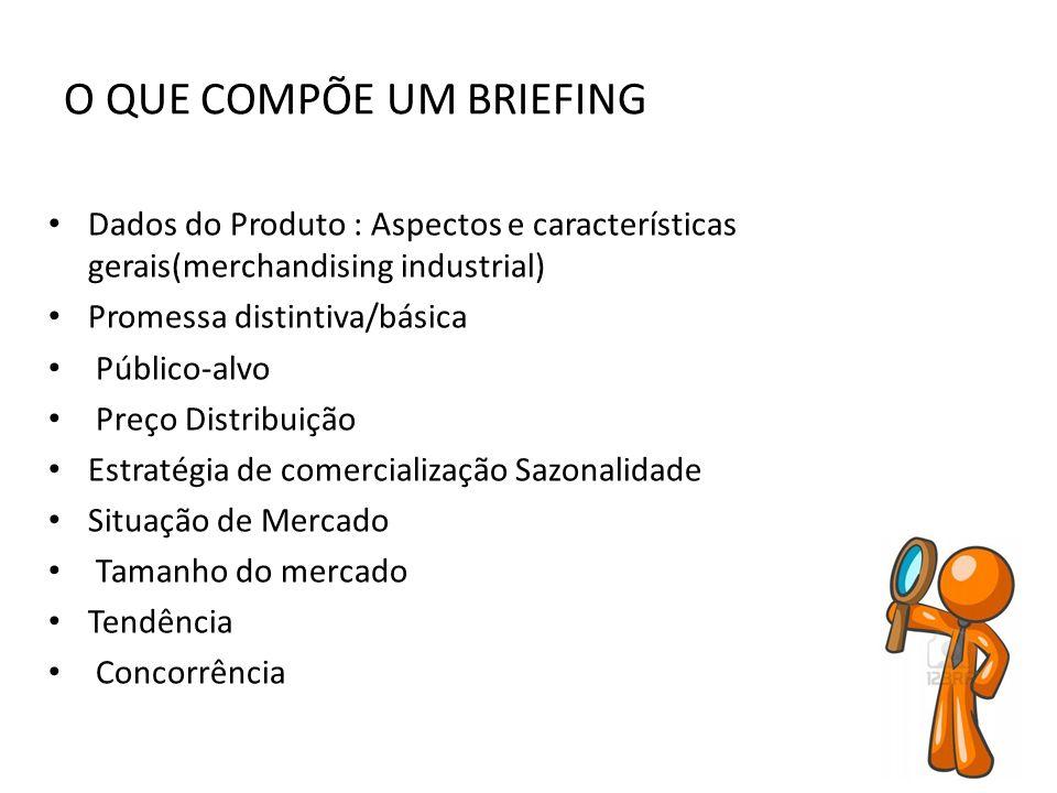 O QUE COMPÕE UM BRIEFING Dados do Produto : Aspectos e características gerais(merchandising industrial) Promessa distintiva/básica Público-alvo Preço