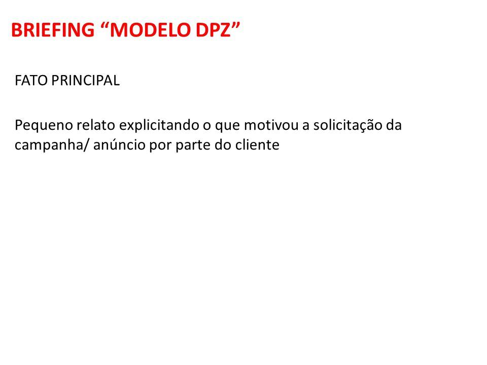 FATO PRINCIPAL Pequeno relato explicitando o que motivou a solicitação da campanha/ anúncio por parte do cliente BRIEFING MODELO DPZ