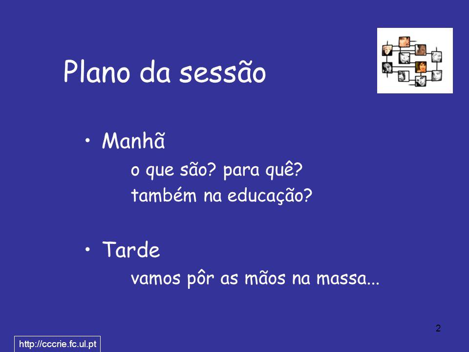 2 Plano da sessão Manhã o que são. para quê. também na educação.