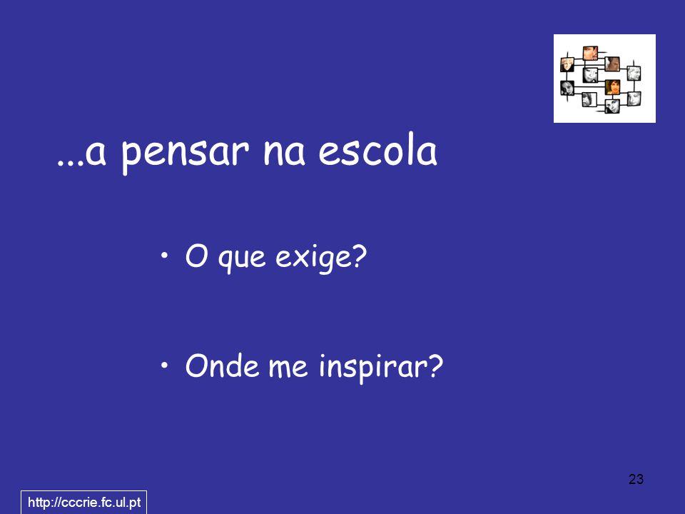 23...a pensar na escola O que exige Onde me inspirar http://cccrie.fc.ul.pt
