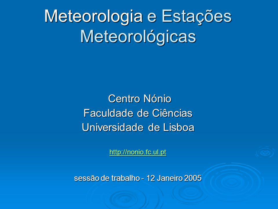 Meteorologia e Estações Meteorológicas Plano da sessão de trabalho 14h Introdução14h Introdução Proposta de trabalho para a sessão.
