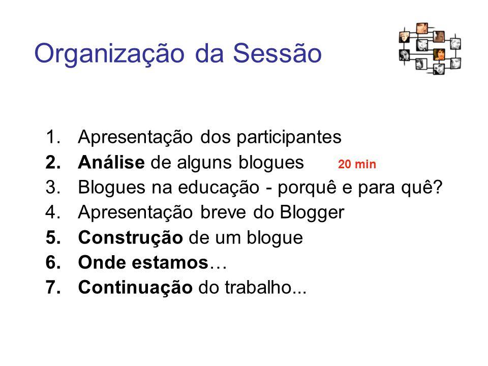 Organização da Sessão 1.Apresentação dos participantes 2.Análise de alguns blogues 20 min 3.Blogues na educação - porquê e para quê.