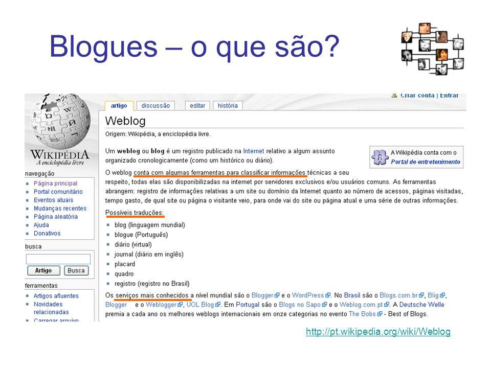 Blogues – o que são? http://pt.wikipedia.org/wiki/Weblog