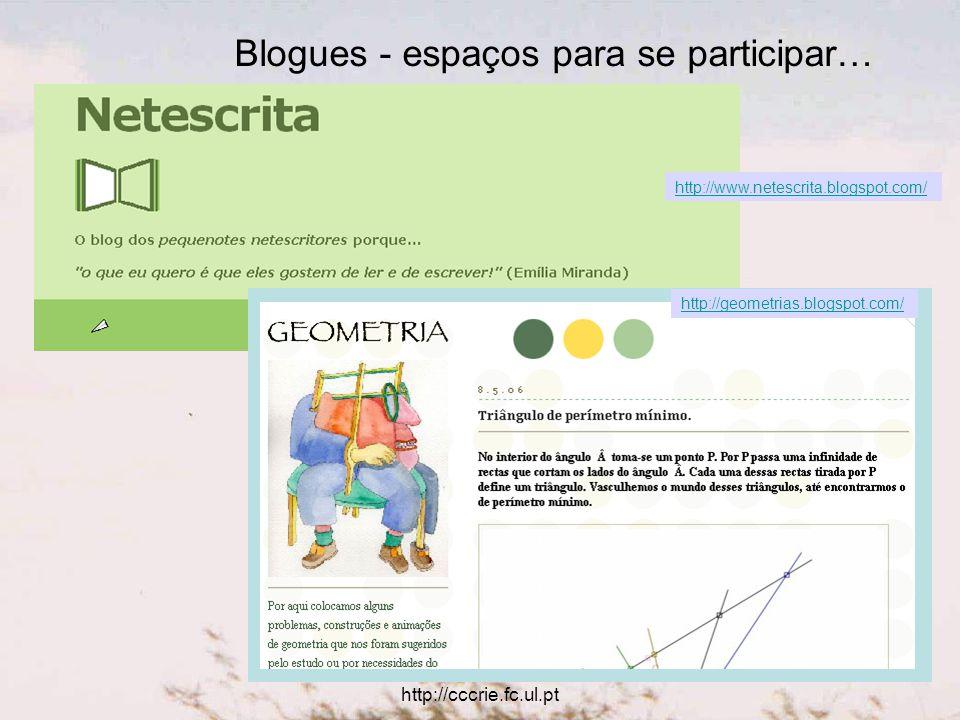 Utilização educativa das TIC http://cccrie.fc.ul.pt Blogues - espaços para se participar… http://www.netescrita.blogspot.com/ http://geometrias.blogspot.com/