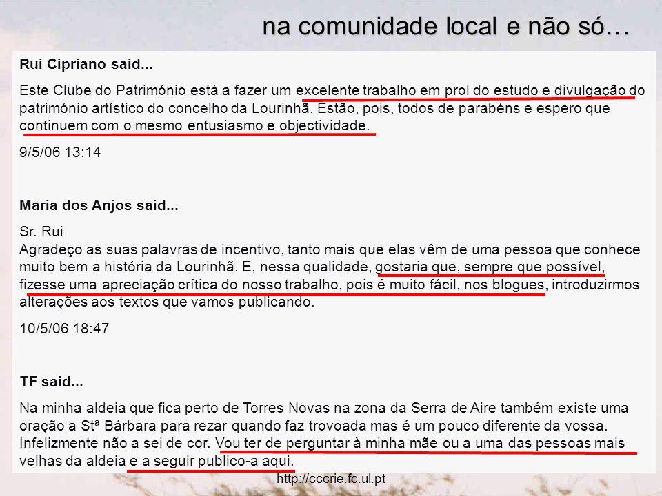 Utilização educativa das TIC http://cccrie.fc.ul.pt Rui Cipriano said...
