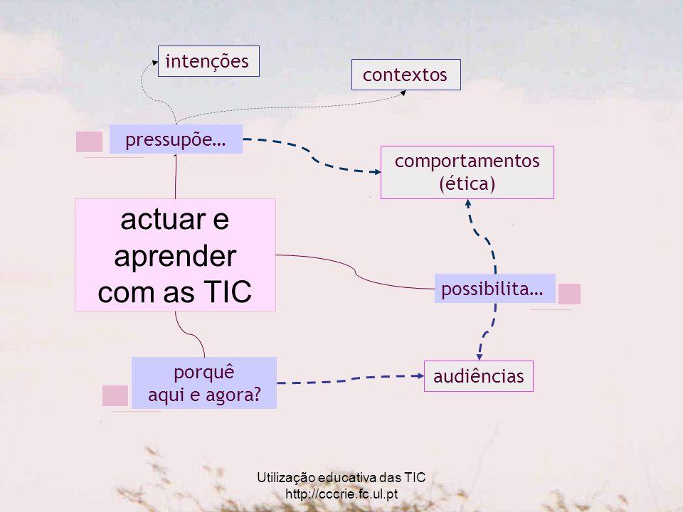 Utilização educativa das TIC http://cccrie.fc.ul.pt pressupõe… intenções comportamentos (ética) contextos possibilita… porquê aqui e agora.