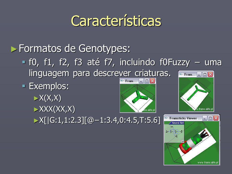 Características Formatos de Genotypes: Formatos de Genotypes: f0, f1, f2, f3 até f7, incluindo f0Fuzzy – uma linguagem para descrever criaturas. f0, f